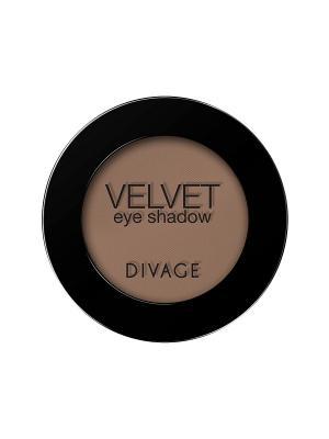 Матовые одноцветные тени для век VELVET тон 7316 DIVAGE. Цвет: серо-коричневый