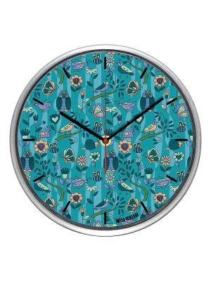 Часы настенные Голубой принт с птичками (30см) Mitya Veselkov. Цвет: голубой