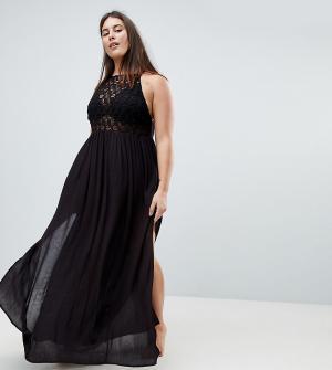 ASOS Curve Пляжное платье макси со вставкой кроше Premium. Цвет: черный