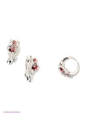 Комплект Lovely Jewelry. Цвет: серебристый, красный