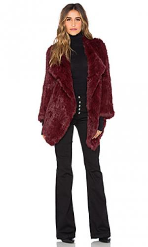 Пальто из меха кролика cascade Jennifer Kate. Цвет: вишня