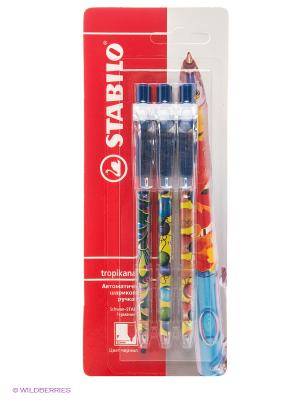 Ручка шариковая, 3 шт. Stabilo. Цвет: синий, красный