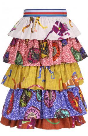 Хлопковая многоярусная юбка с принтом Stella Jean. Цвет: разноцветный