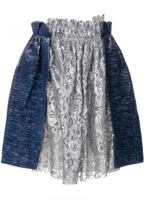 Присборенная кружевная мини-юбка Jourden. Цвет: синий