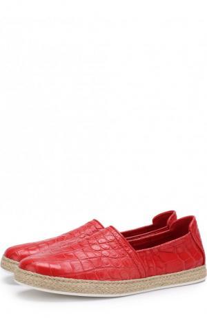 Эспадрильи из кожи крокодила Dami. Цвет: красный