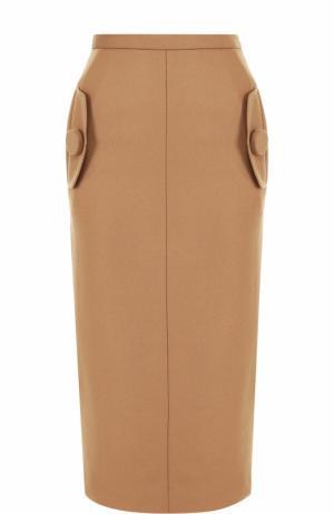 Однотонная юбка-карандаш из смеси шерсти и кашемира No. 21. Цвет: темно-бежевый