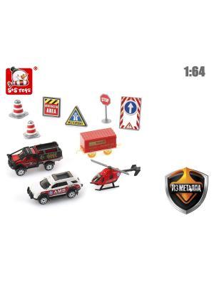 Набор металлических машин S-S. Цвет: красный, белый, черный