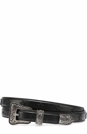 Кожаный ремень Western с фигурной пряжкой и нашивками в виде звезд Saint Laurent. Цвет: черный
