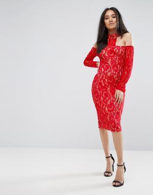AX Paris Красное кружевное платье миди с Т-образной бретелью. Цвет: красный