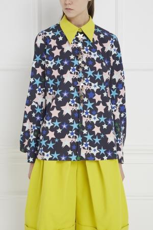Хлопковая блузка Delpozo. Цвет: синий, желтый, розовый