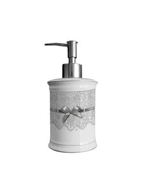 Дозатор для жидкого мыла керамический  8х17см. Mathilde M. Цвет: белый, черный