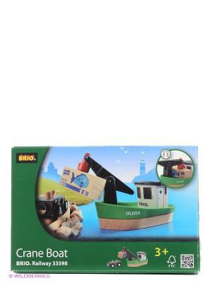 Корабль с краном-погрузчиком на магните и вагончиком BRIO. Цвет: прозрачный
