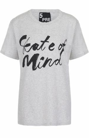 Хлопковая футболка прямого кроя с контрастной надписью 5PREVIEW. Цвет: серый