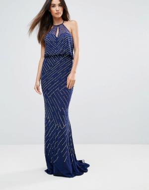 Forever Unique Платье макси с драпировкой на спине. Цвет: темно-синий