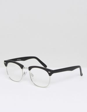 Jeepers Peepers Черные очки в стиле ретро с прозрачными стеклами. Цвет: черный