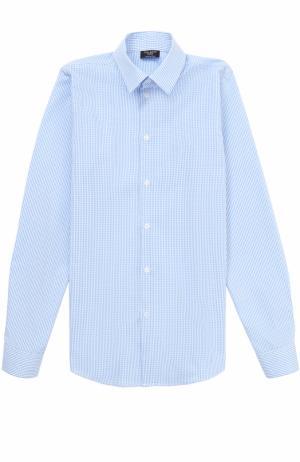 Хлопковая рубашка прямого кроя в мелкую клетку Dal Lago. Цвет: голубой