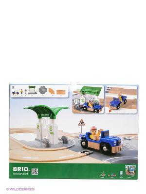 BRIO игровой набор с автодорогой, перекрестком, заправкой  33747. Цвет: зеленый