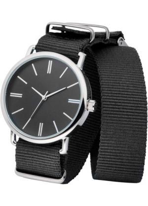Часы на текстильном ремешке (черный/серебристый) bonprix. Цвет: черный/серебристый