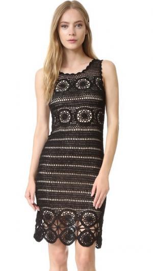 Облегающее связанное крючком платье Jeannette alice + olivia. Цвет: черный/телесный