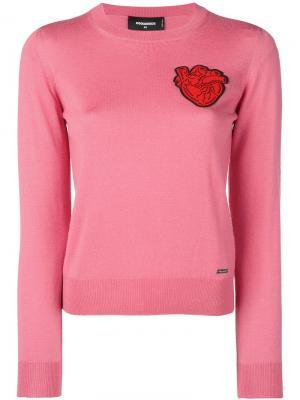 Свитер с заплаткой в виде сердца Dsquared2. Цвет: розовый и фиолетовый