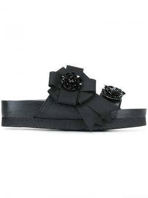 Декорированные сандалии с бантом Suecomma Bonnie. Цвет: чёрный