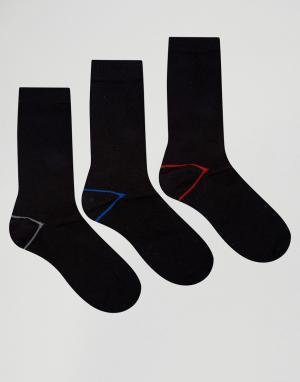 Ciao 3 пары хлопковых носков с контрастной пяткой на подкладке Italy. Цвет: черный