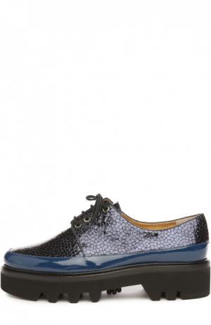 Лаковые ботинки Dingo на шнуровке Walter Steiger. Цвет: синий