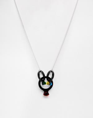 Tatty Devine Ожерелье с коктейльными кольцами. Цвет: черный