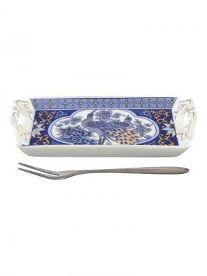 Тарелка под лимон Павлин синий  с вилкой Elan Gallery. Цвет: белый, синий