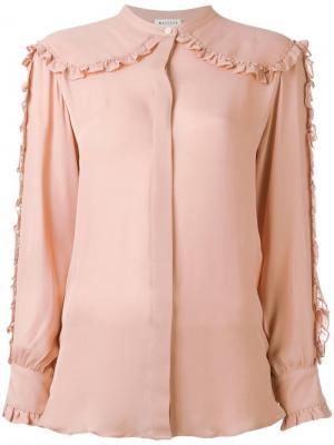Рубашка без воротника с отделкой оборками Masscob. Цвет: розовый и фиолетовый