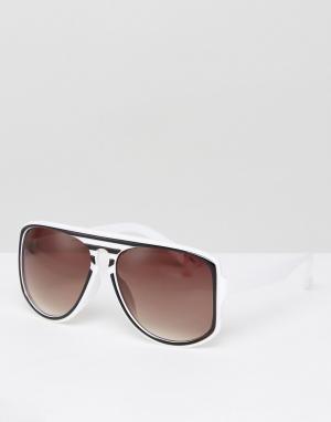 Jeepers Peepers Солнцезащитные очки в полосатой оправе. Цвет: черный