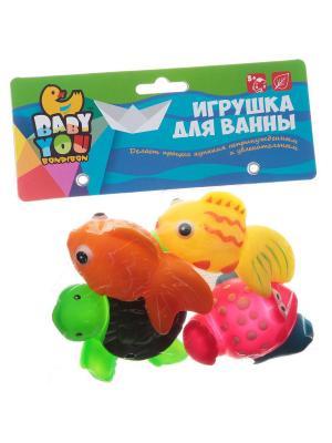 Игр. наб. для купания, Bondibon, рыбки, рак, черепаха, 4 шт., pvc, арт. EL1212 BONDIBON. Цвет: зеленый, оранжевый, розовый, желтый, синий