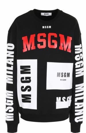 Хлопковый свитшот прямого кроя с надписями MSGM. Цвет: черный