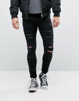 New Look Черные рваные супероблегающие джинсы. Цвет: черный
