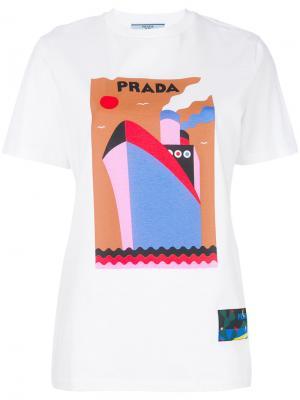 Футболка с логотипом и принтом Prada. Цвет: белый