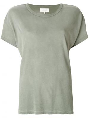 Frayed loose-fit T-shirt The Great. Цвет: зелёный