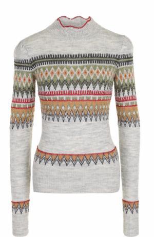 Шерстяной свитер с принтом Isabel Marant Etoile. Цвет: серый