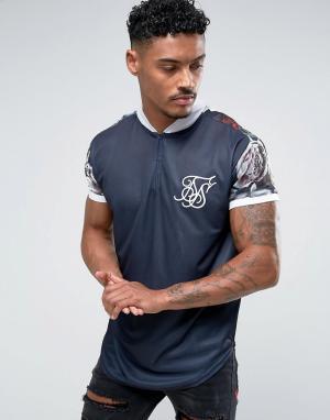 SikSilk Темно-синяя облегающая футболка с рукавами цветочным принтом. Цвет: темно-синий