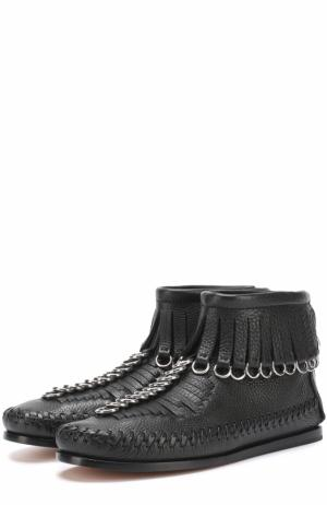Кожаные ботинки с бахромой и подвесками Alexander Wang. Цвет: черный