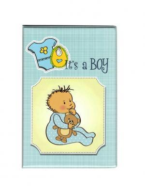 Папка Свидетельство о рождении Tina Bolotina. Цвет: голубой, желтый