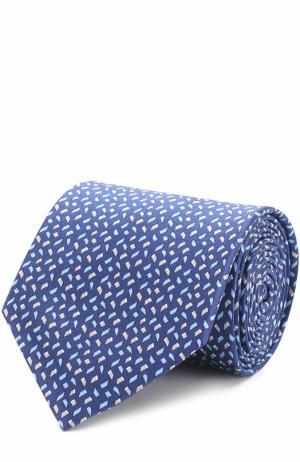 Комплект из шелкового галстука и платка Lanvin. Цвет: темно-синий