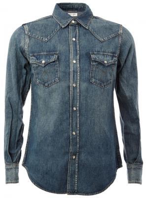 Джинсовая рубашка в западном стиле Saint Laurent. Цвет: синий
