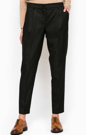 Черные брюки в полоску Stefanel. Цвет: черный