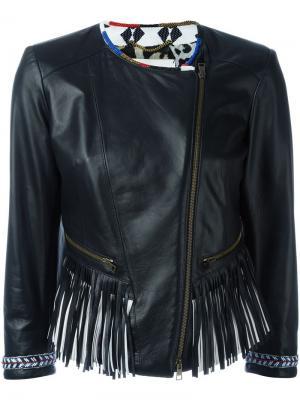Байкерская куртка с бахромой Bazar Deluxe. Цвет: чёрный