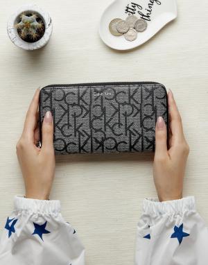 Calvin Klein Монохромный кошелек на молнии. Цвет: серый