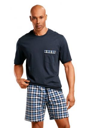 Пижама с шортами Schiesser. Цвет: 1x темно-синий-синий в клетку
