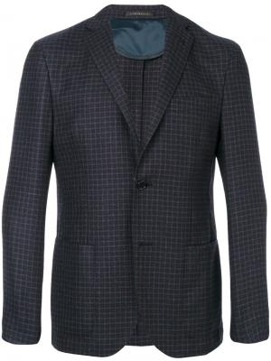 Patch pockets checked blazer Corneliani. Цвет: синий