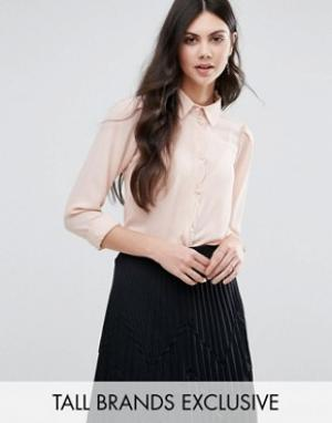 Alter Tall Блузка на пуговицах с фигурной отделкой по краю. Цвет: розовый