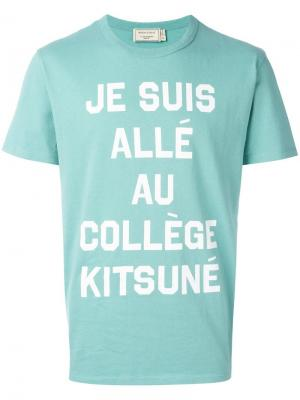 Футболка College Maison Kitsuné. Цвет: зелёный