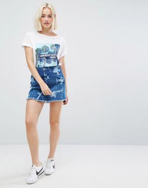 Wrangler Выбеленная джинсовая мини-юбка. Цвет: синий